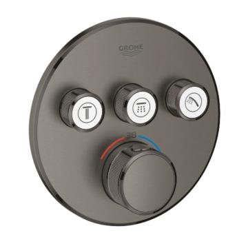 GROHE Grohtherm SmartControl afbouwdeel thermostatische mengkraan met 3-weg omstelling rond, geborsteld hard graphite
