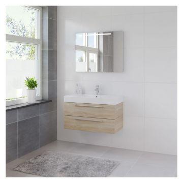 Bruynzeel Bando badmeubelset 90 cm met spiegel en aluminium greeplijst, bardolino