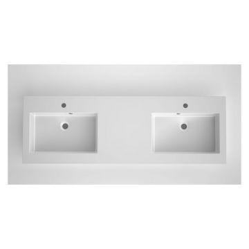 Bruynzeel Matera dubbele composiet meubelwastafel met 2 kraangaten 150x46 cm, mat wit