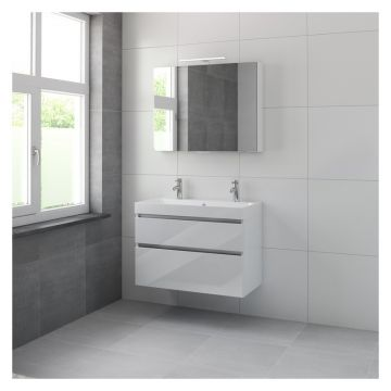 Bruynzeel Pinto badmeubelset 90 cm breed met 2 laden en spiegelkast, glans wit