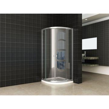 Wiesbaden Eco kwartronde douchecabine 90x90x190 cm, aluminium