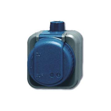 Busch-Jaeger Busch-duro WDI wandcontactdoos 2-polig met klapdeksel randaarde, blauw