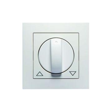 PEHA BADORA centraalplaat met knop voor jaloezie-draaischakelaar, levend wit