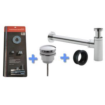Sub Uni-1 luxe fontein/wast. aansluitset+sifon chr