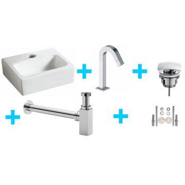 Sub Mini-Leto fontein met gebogen kraan en sifon, wit/chroom