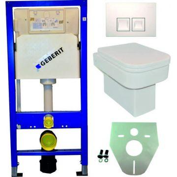 Toiletset Geberit UP100 Duofix + Wiesbaden Carré hangend toilet met zitting + Geberit Delta50 bedieningsplaat, wit