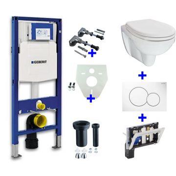 Toiletset Geberit UP320 Duofix + Wiesbaden Trevi hangend toilet met zitting + Geberit Sigma01 bedieningsplaat, wit
