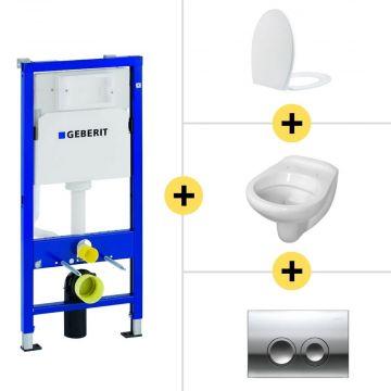 Toiletset Geberit UP100 Duofix + Wiesbaden Neptunus hangend toilet met Ultimo zitting + Geberit Delta21 bedieningsplaat, chroom