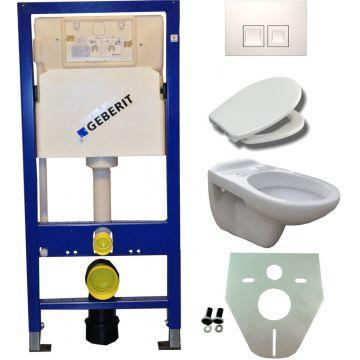 Toiletset Geberit UP100 Duofix + Wiesbaden Neptunus hangend toilet met Ultimo zitting + Geberit Delta50 bedieningsplaat, wit