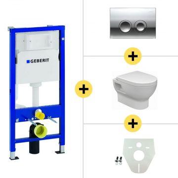 Toiletset Geberit UP100 Duofix + Wiesbaden Mercurius hangend toilet met zitting + Geberit Delta21 bedieningsplaat, chroom