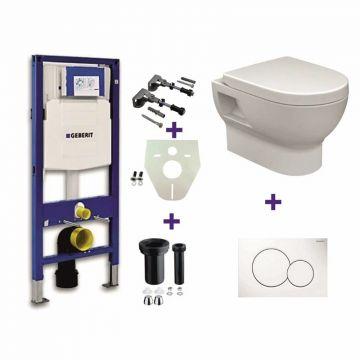 Toiletset Geberit UP320 Duofix + Wiesbaden Mercurius hangend toilet met zitting + Geberit Sigma01 bedieningsplaat, wit