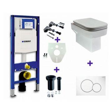 Toiletset Geberit UP320 Duofix + Wiesbaden Carré hangend toilet met zitting + Geberit Sigma01 bedieningsplaat, wit