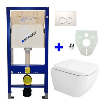 Toiletset Geberit UP100 Duofix + Wiesbaden Sky hangend toilet met zitting + Geberit Delta21 bedieningsplaat, wit