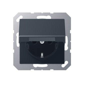 Jung A500 wandcontactdoos met klapdeksel kunststof, antraciet