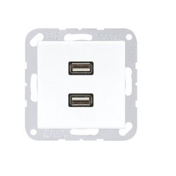 Jung AS500 USB-wandcontactdoos, wit, 2 eenheden