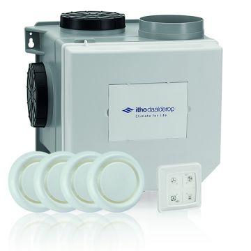 Itho Daalderop CVE-S ECO alles-in-één ventilatiepakket, ventilatievermogen 375 m3/uur, met vochtsensor en RFT-bedieningspaneel