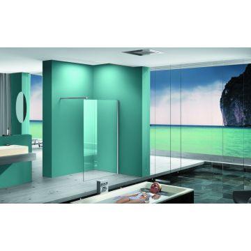 Wiesbaden Eco inloopdouche met muurprofiel 90x200x0,8 cm NANO glas, chroom