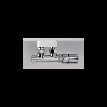 """Instamat Twin Valve thermostatisch aansluitblok ½"""" met bypass incl. thermostaatkop, recht, verchroomd"""