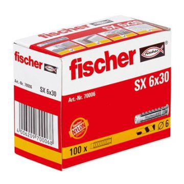 Fischer SX nylon plug 6 x 30, 100 stuks, grijs