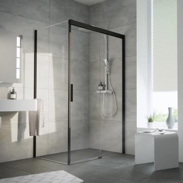 HSK Atelier Plan schuifdeur met zijwand, 120x90x206cm, montagezijde deur rechts, zwart-mat