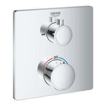 GROHE Grohtherm thermostatische mengkraan voor 2 uitgangen, met omstelknop voor badkraan en handdouche, chroom