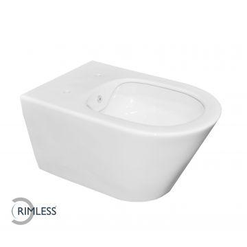Wiesbaden Comfort hangend toilet rimless en met bidet-functie 40 x 35,5 x 53 cm, wit