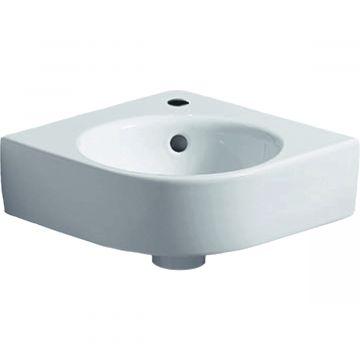 Geberit Renova compact hoekfontein 45 cm 1 kraangat met overloop, wit