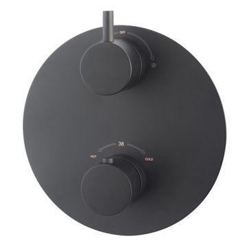 Caral afbouwdeel rond inbouwthermostaat 2 weg mat-zwart