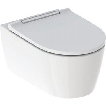 Geberit ONE wc pack hangend toilet met TurboFlush en toiletzitting, designpaneel chroom, wit