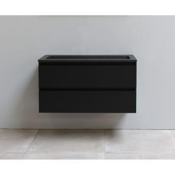 Sub Online onderkast met acryl wastafel slate structuur zonder kraangat 100x55x46cm, mat zwart